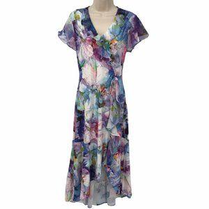 NWOT Kate & Mallory Floral Chiffon V Neck Dress